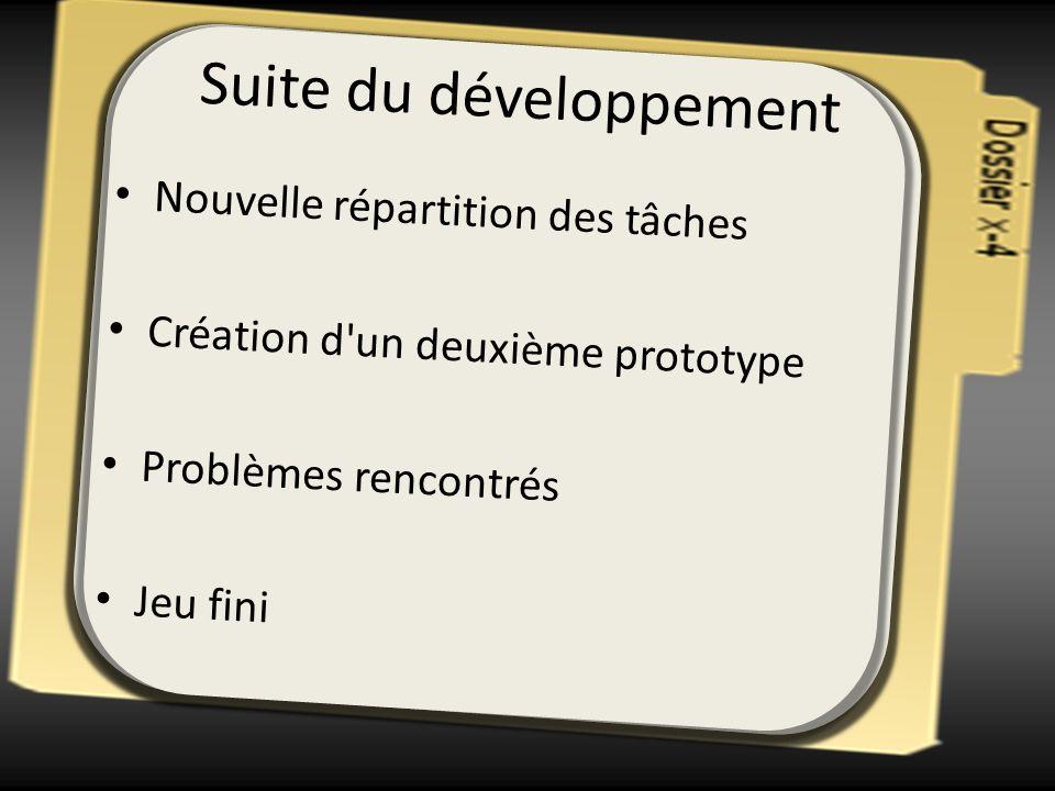 Suite du développement Nouvelle répartition des tâches Création d'un deuxième prototype Problèmes rencontrés Jeu fini