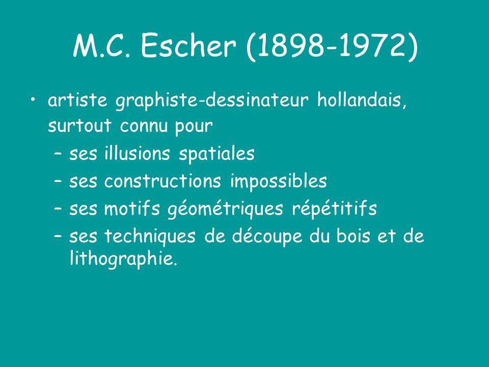 M.C. Escher (1898-1972) artiste graphiste-dessinateur hollandais, surtout connu pour –ses illusions spatiales –ses constructions impossibles –ses moti