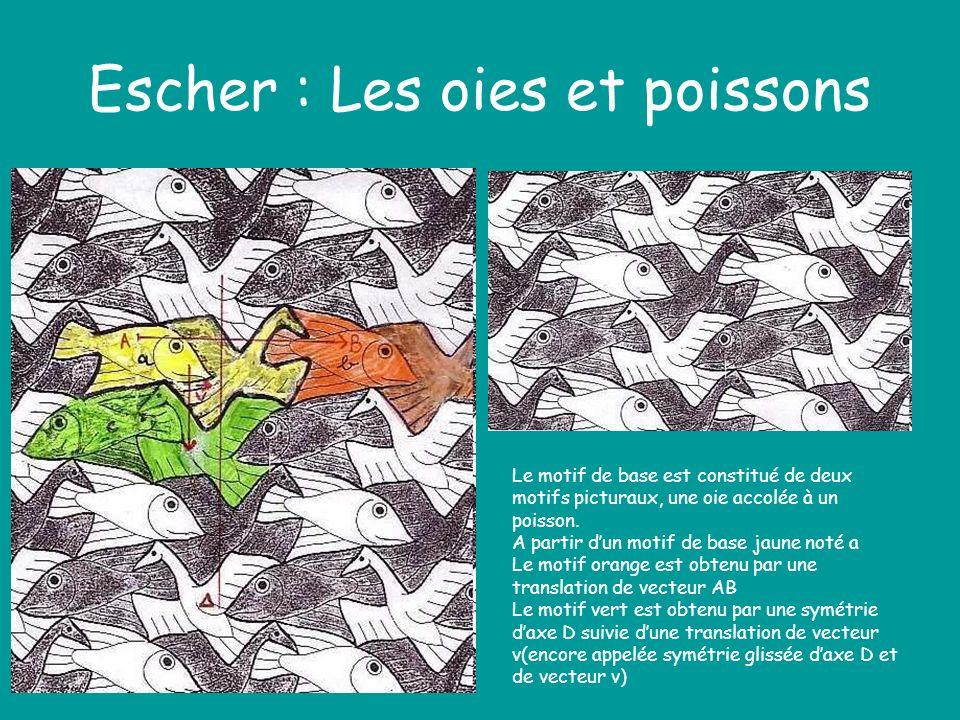 Escher : Les oies et poissons Le motif de base est constitué de deux motifs picturaux, une oie accolée à un poisson. A partir dun motif de base jaune