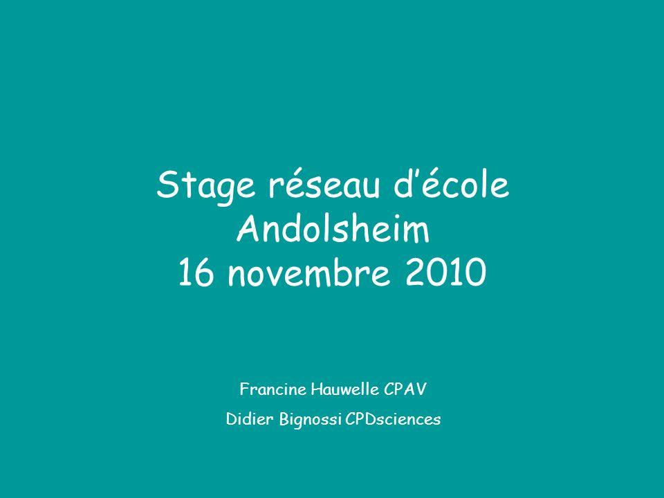 Stage réseau décole Andolsheim 16 novembre 2010 Francine Hauwelle CPAV Didier Bignossi CPDsciences
