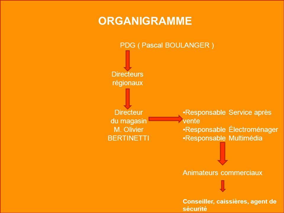 ORGANIGRAMME PDG ( Pascal BOULANGER ) Directeurs régionaux Directeur du magasin M. Olivier BERTINETTI Responsable Service après vente Responsable Élec