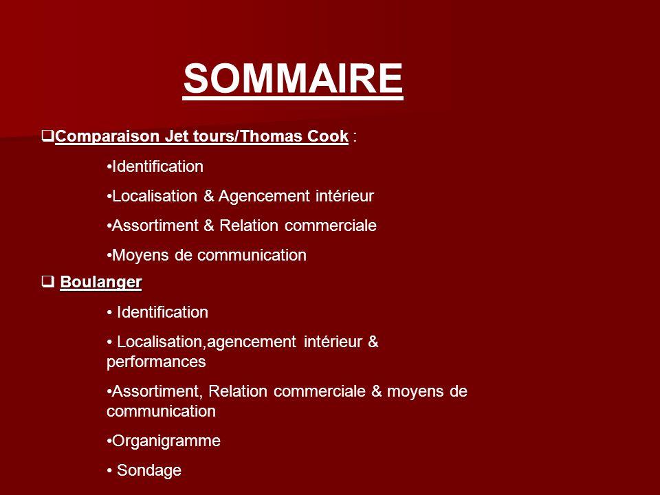 SOMMAIRE Comparaison Jet tours/Thomas Cook : Identification Localisation & Agencement intérieur Assortiment & Relation commerciale Moyens de communica