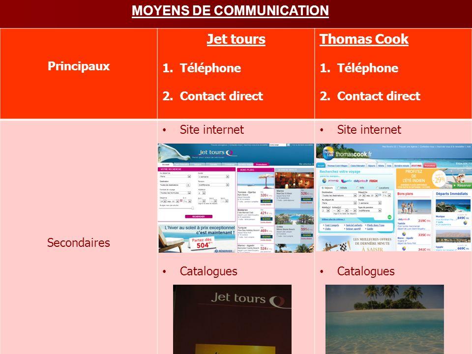 MOYENS DE COMMUNICATION Jet tours Principaux Jet tours 1.Téléphone 2.Contact direct Thomas Cook 1.Téléphone 2.Contact direct Secondaires Site internet
