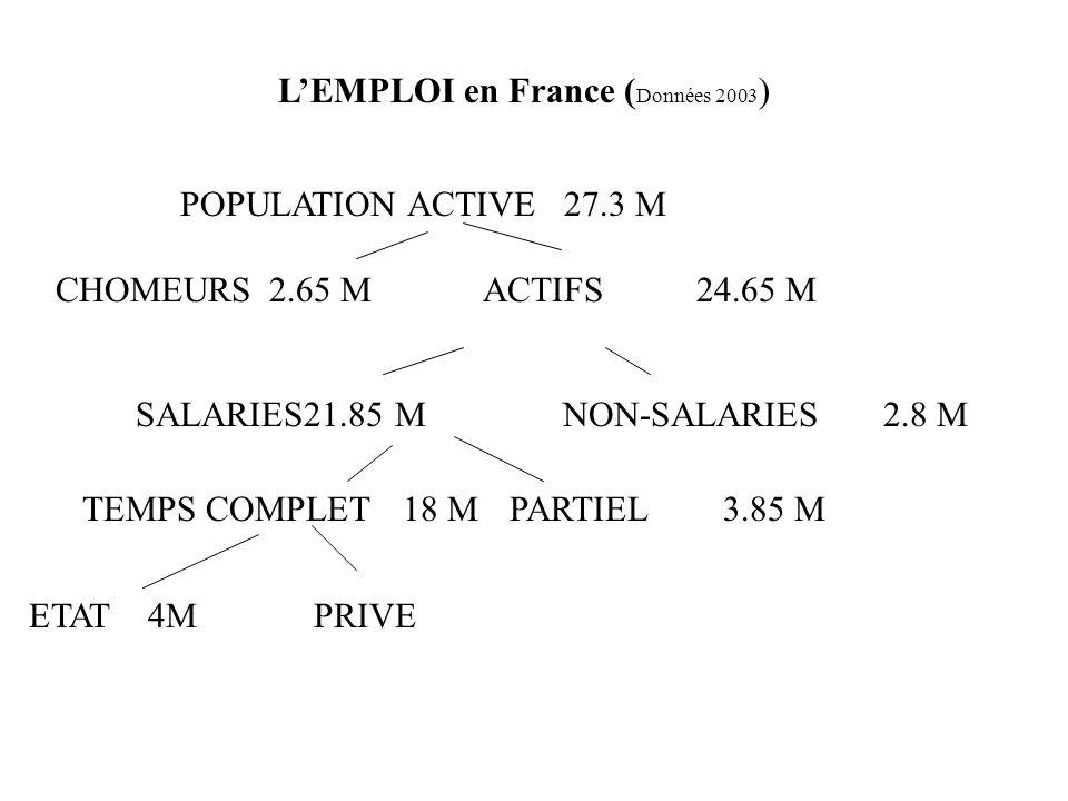 LEMPLOI en France ( Données 2003 ) POPULATION ACTIVE 27.3 M CHOMEURS2.65 MACTIFS24.65 M SALARIES21.85 MNON-SALARIES2.8 M TEMPS COMPLET18 MPARTIEL3.85