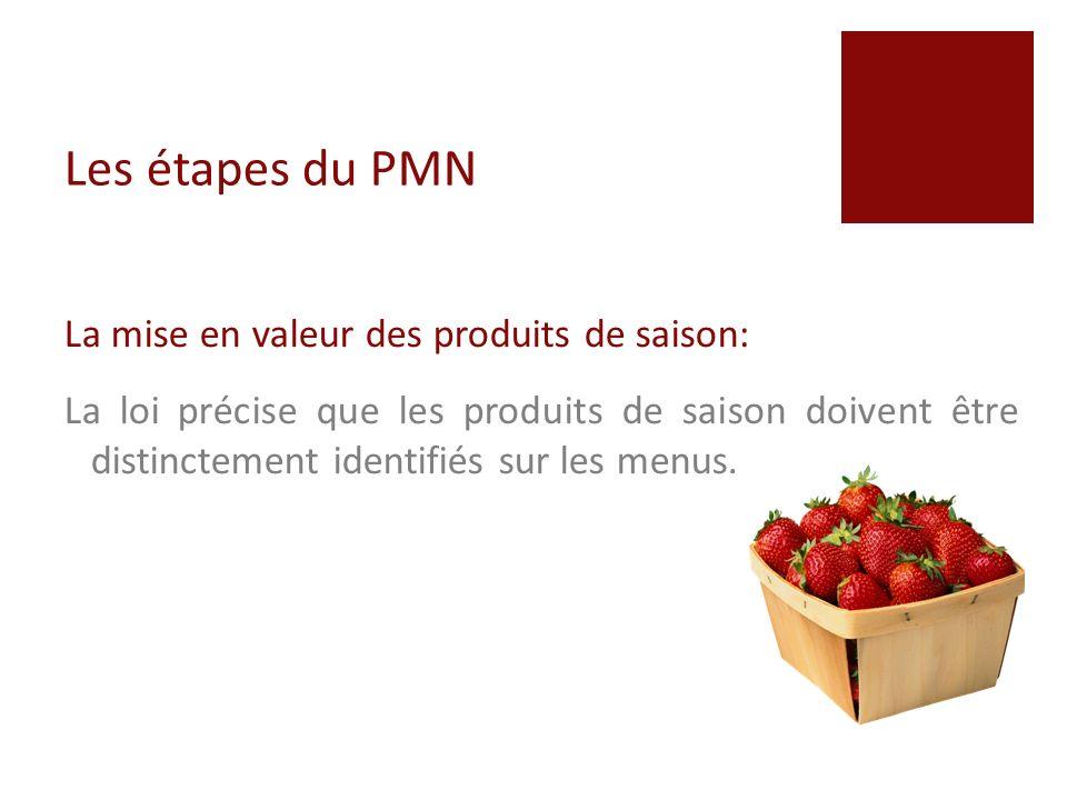 Les étapes du PMN Les grammages produits: Lannexe II détaille les grammages des produits prêts à consommer préparés par des fournisseurs extérieurs.