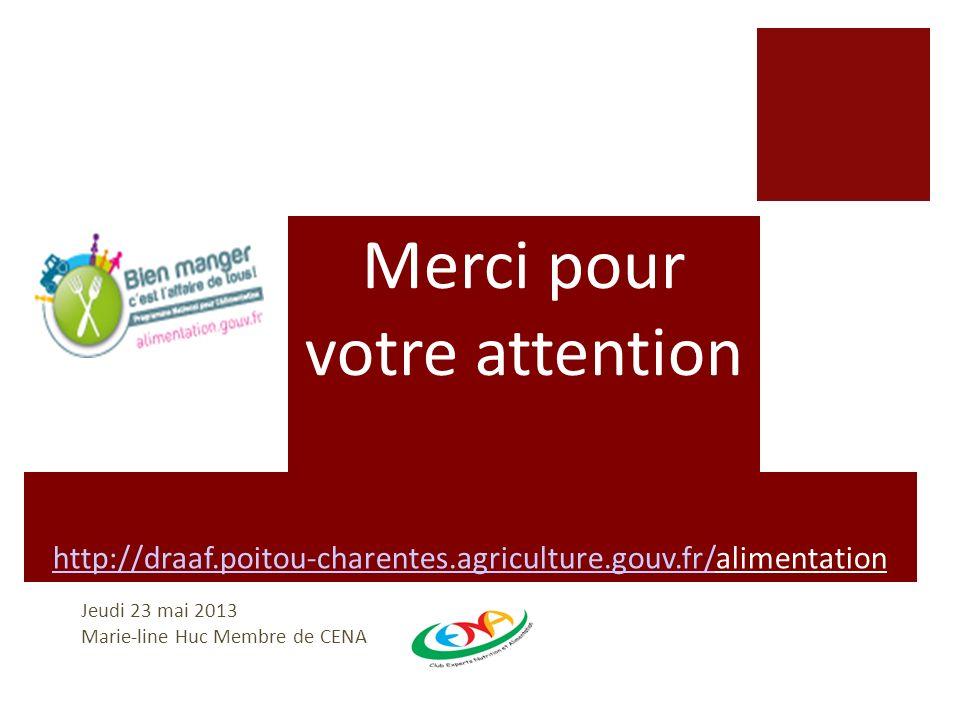 http://draaf.poitou-charentes.agriculture.gouv.fr/http://draaf.poitou-charentes.agriculture.gouv.fr/alimentation Jeudi 23 mai 2013 Marie-line Huc Memb