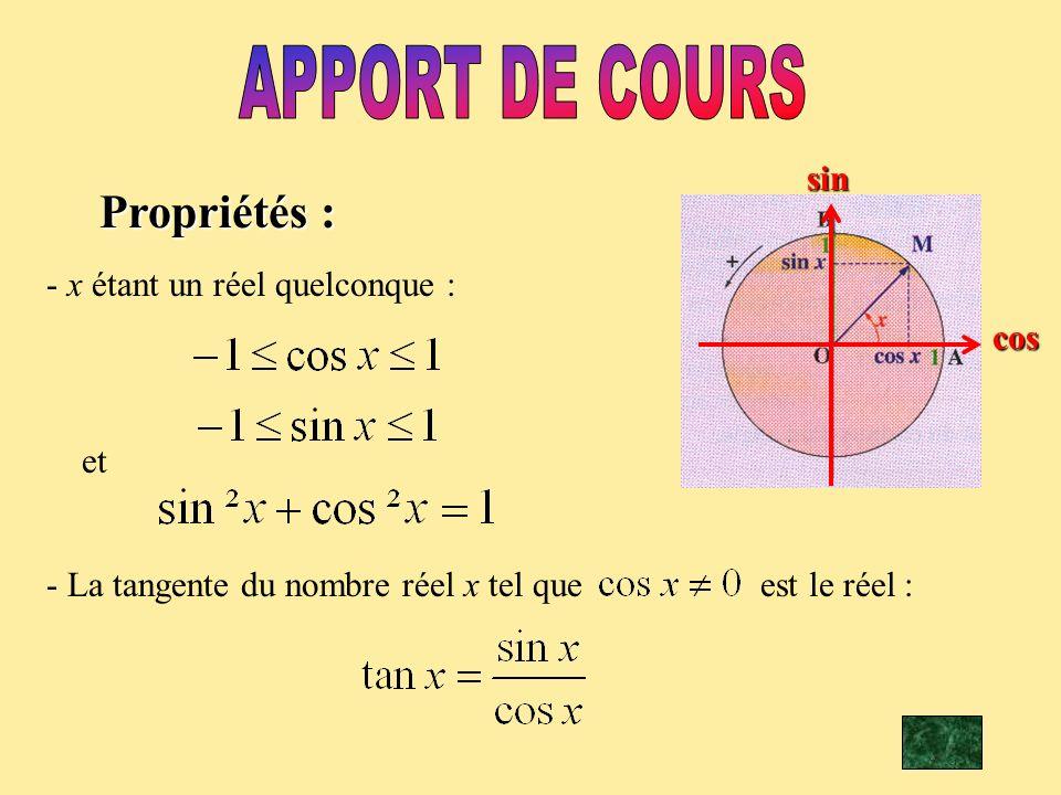 cossinPropriétés : - x étant un réel quelconque : et - La tangente du nombre réel x tel que est le réel :