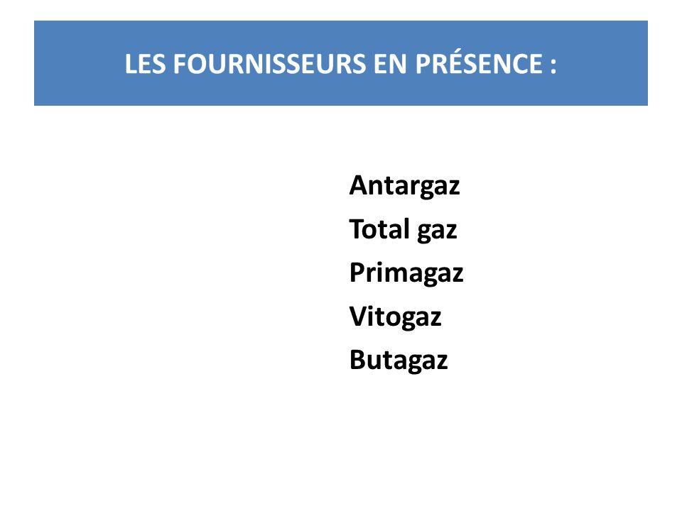 LES FOURNISSEURS EN PRÉSENCE : Antargaz Total gaz Primagaz Vitogaz Butagaz
