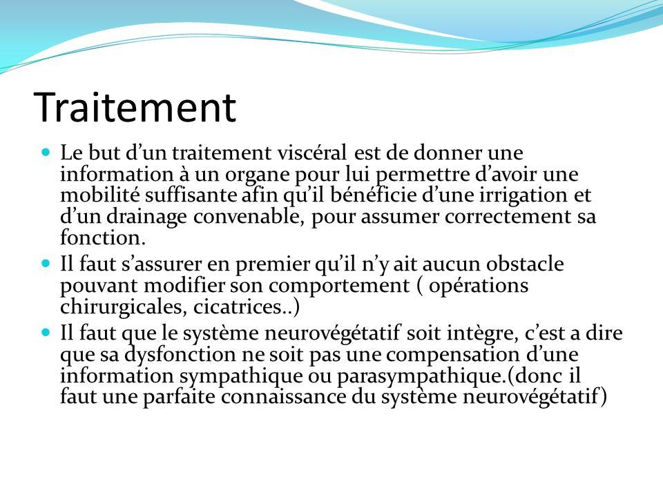 Traitement Le but dun traitement viscéral est de donner une information à un organe pour lui permettre davoir une mobilité suffisante afin quil bénéfi