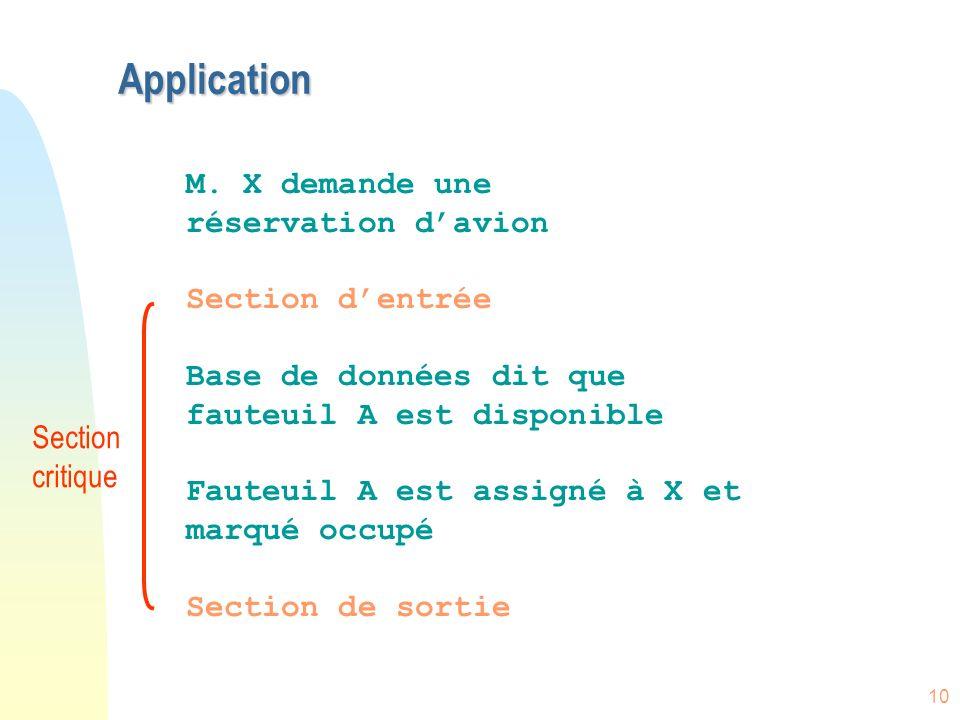 10 Application M. X demande une réservation davion Section dentrée Base de données dit que fauteuil A est disponible Fauteuil A est assigné à X et mar