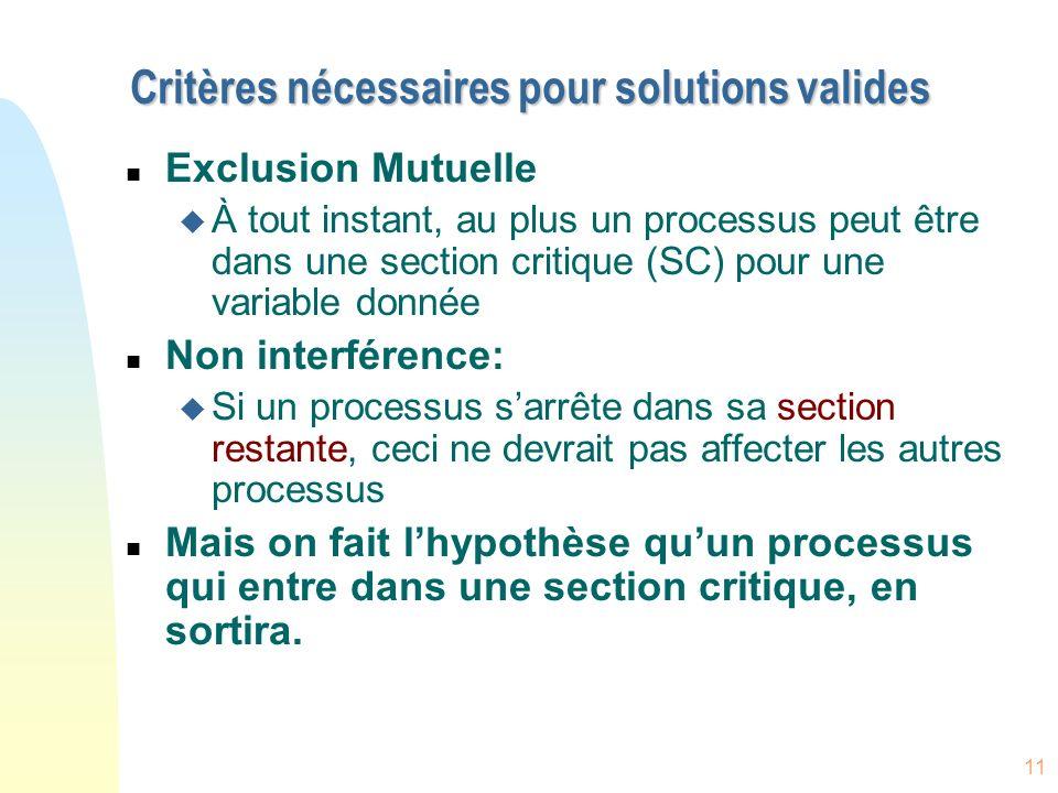 11 Critères nécessaires pour solutions valides n Exclusion Mutuelle u À tout instant, au plus un processus peut être dans une section critique (SC) po