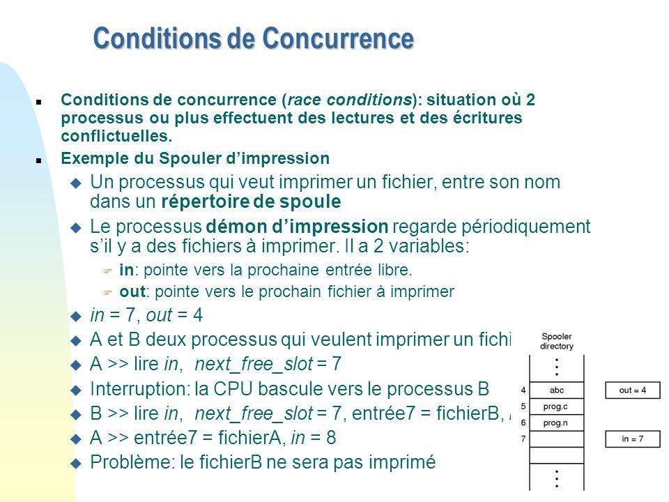 13 Conditions de Concurrence n Conditions de concurrence (race conditions): situation où 2 processus ou plus effectuent des lectures et des écritures