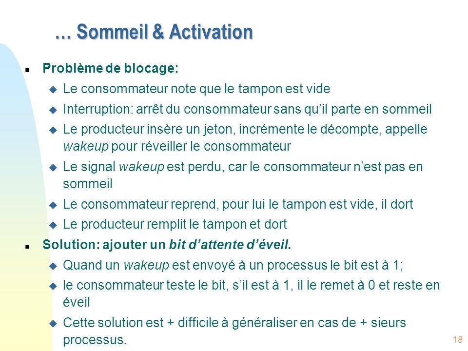 18 … Sommeil & Activation n Problème de blocage: u Le consommateur note que le tampon est vide u Interruption: arrêt du consommateur sans quil parte e