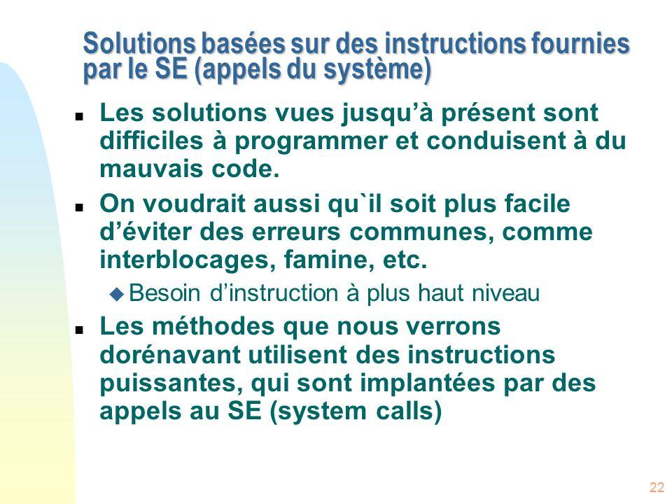 22 Solutions basées sur des instructions fournies par le SE (appels du système) n Les solutions vues jusquà présent sont difficiles à programmer et co