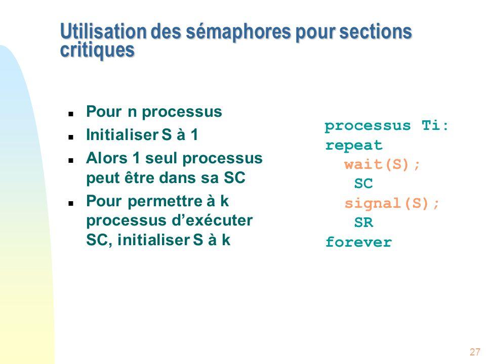27 Utilisation des sémaphores pour sections critiques n Pour n processus n Initialiser S à 1 n Alors 1 seul processus peut être dans sa SC n Pour perm