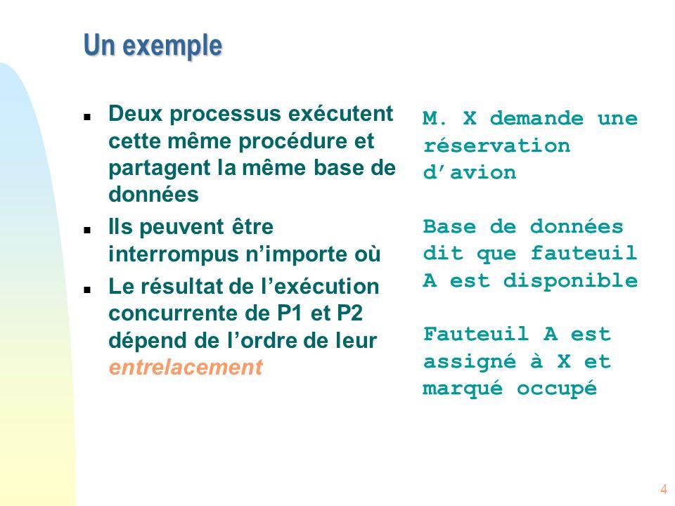 4 Un exemple n Deux processus exécutent cette même procédure et partagent la même base de données n Ils peuvent être interrompus nimporte où n Le résu
