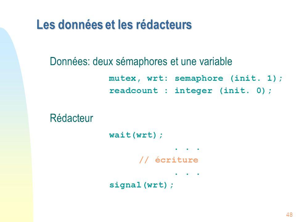 48 Les données et les rédacteurs Données: deux sémaphores et une variable mutex, wrt: semaphore (init. 1); readcount : integer (init. 0); Rédacteur wa