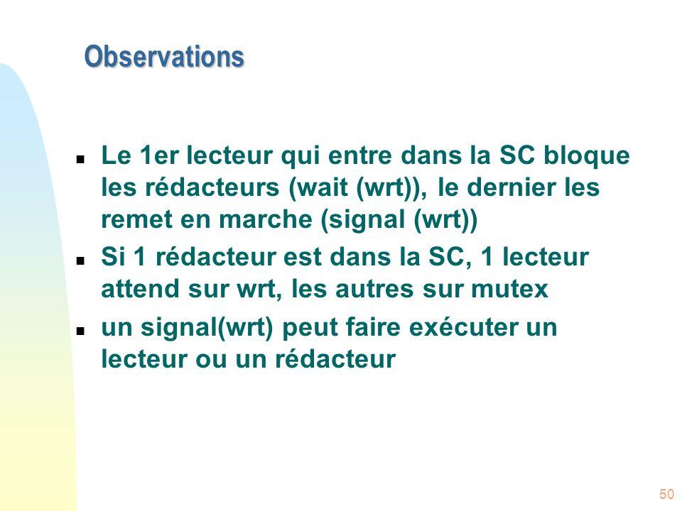 50 Observations n Le 1er lecteur qui entre dans la SC bloque les rédacteurs (wait (wrt)), le dernier les remet en marche (signal (wrt)) n Si 1 rédacte