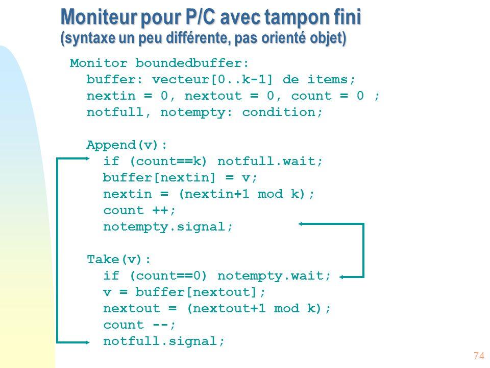 74 Moniteur pour P/C avec tampon fini (syntaxe un peu différente, pas orienté objet) Monitor boundedbuffer: buffer: vecteur[0..k-1] de items; nextin =
