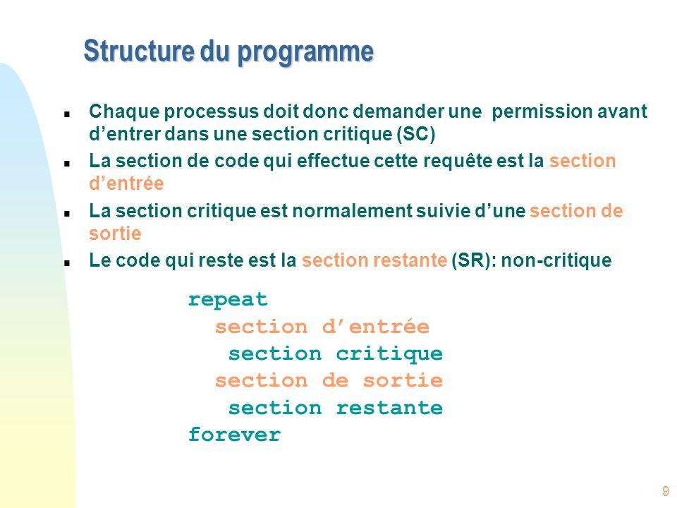 9 Structure du programme n Chaque processus doit donc demander une permission avant dentrer dans une section critique (SC) n La section de code qui ef
