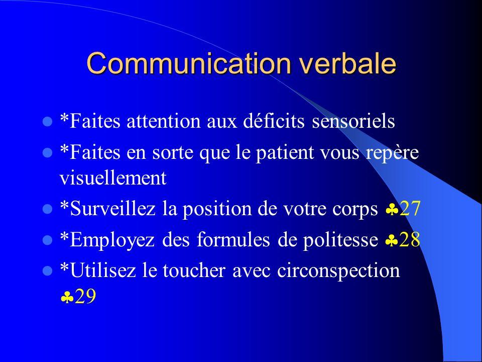 Communication verbale *Faites attention aux déficits sensoriels *Faites en sorte que le patient vous repère visuellement *Surveillez la position de vo