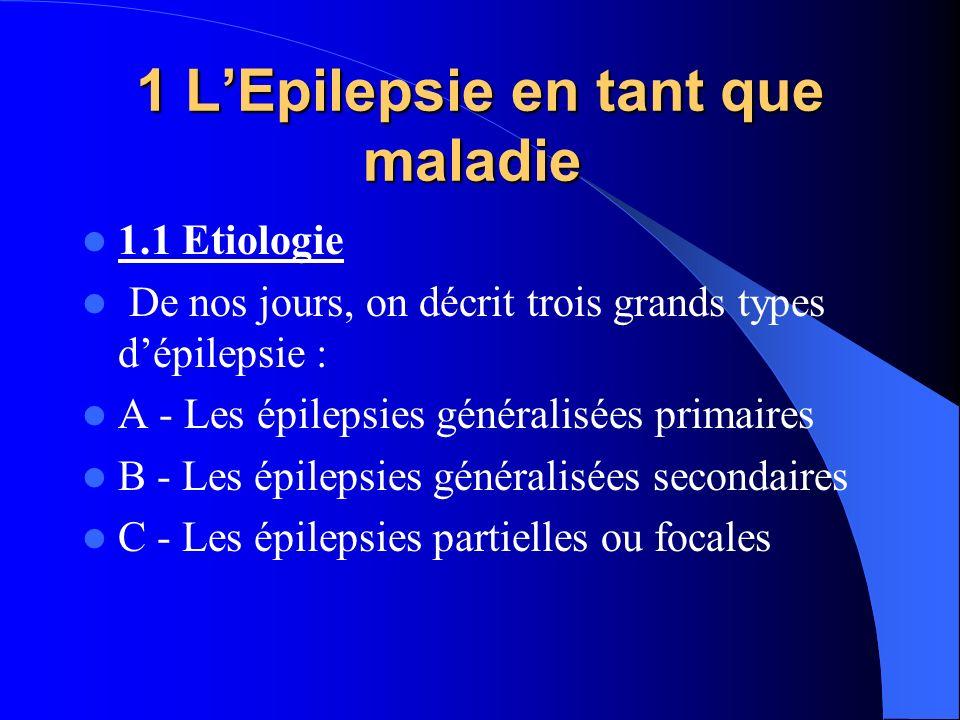 1 LEpilepsie en tant que maladie 1 LEpilepsie en tant que maladie 1.1 Etiologie De nos jours, on décrit trois grands types dépilepsie : A - Les épilep
