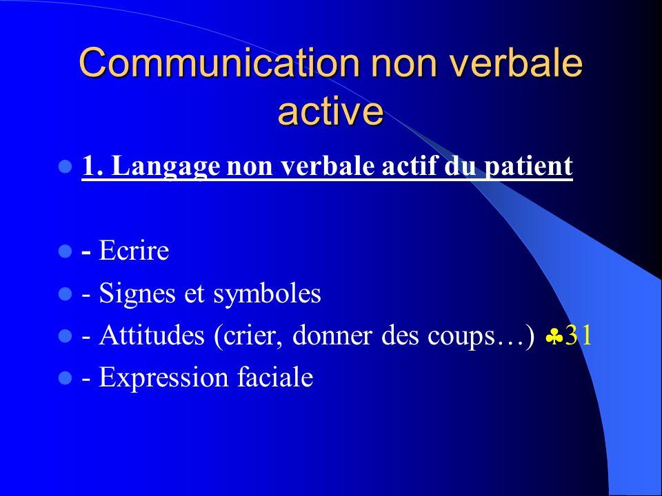Communication non verbale active 1. Langage non verbale actif du patient - Ecrire - Signes et symboles - Attitudes (crier, donner des coups…) 31 - Exp