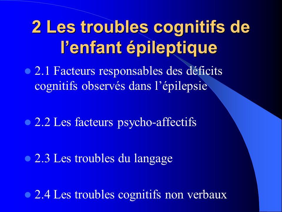 2 Les troubles cognitifs de lenfant épileptique 2 Les troubles cognitifs de lenfant épileptique 2.1 Facteurs responsables des déficits cognitifs obser
