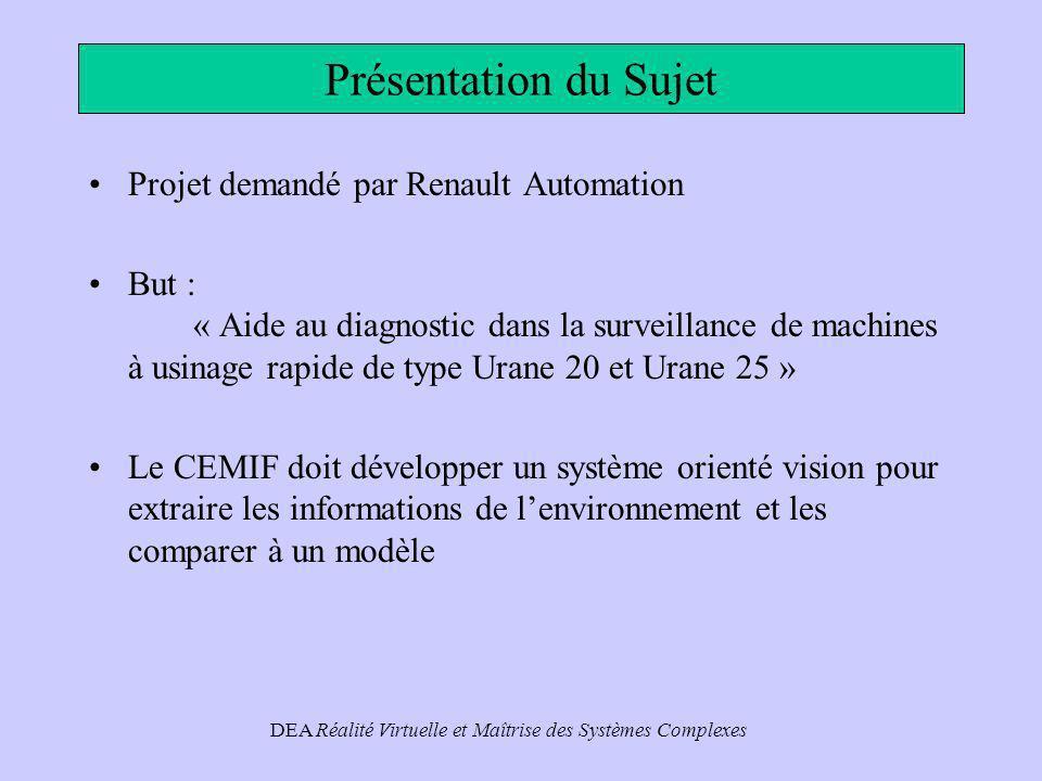 DEA Réalité Virtuelle et Maîtrise des Systèmes Complexes Centre dusinage classique volume de travail : 500x500x200 (mm) vitesse max.