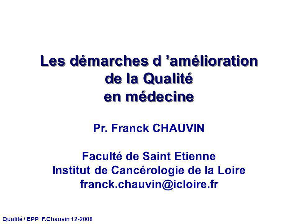 Qualité / EPP F.Chauvin 12-2008 Évaluation des pratiques professionnelles Appréciation sur la qualité des pratiques de soins et Recommandations pour les améliorer.