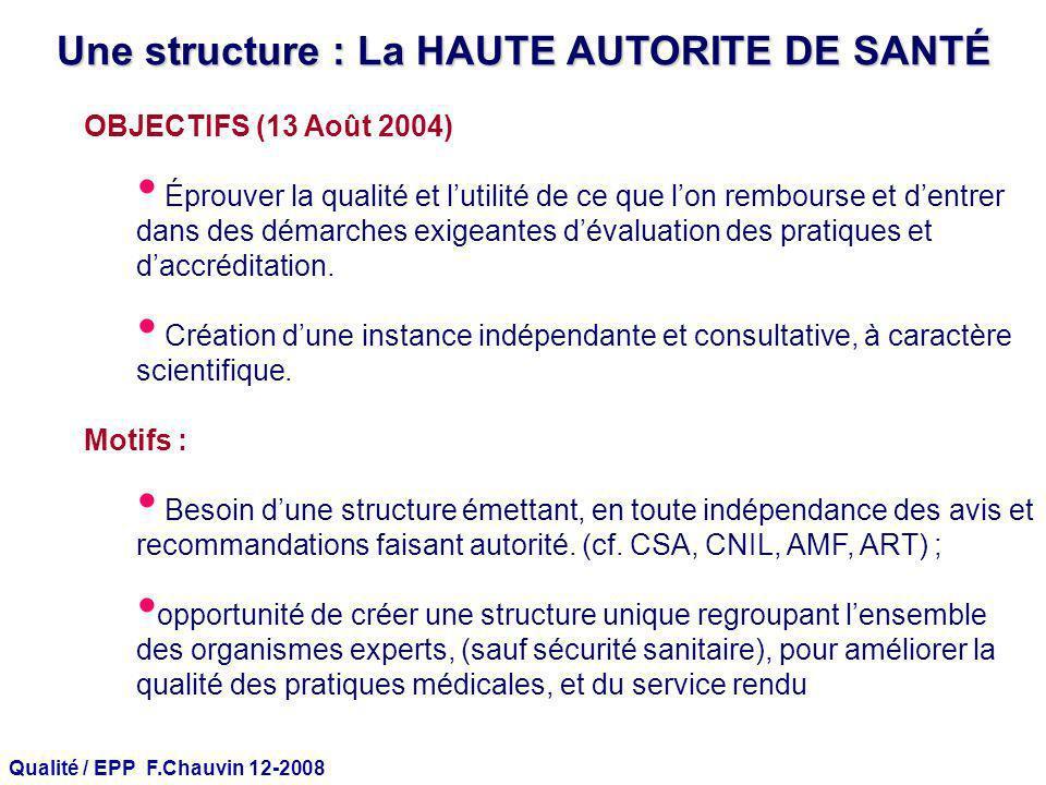 Qualité / EPP F.Chauvin 12-2008 Une structure : La HAUTE AUTORITE DE SANTÉ OBJECTIFS (13 Août 2004) Éprouver la qualité et lutilité de ce que lon remb