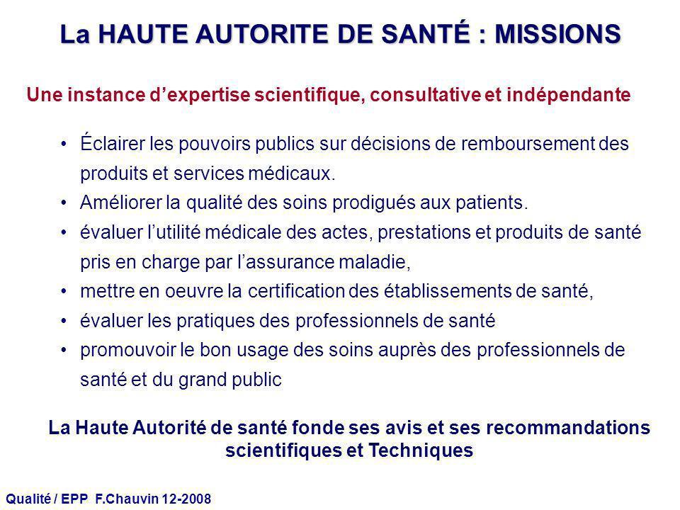 Qualité / EPP F.Chauvin 12-2008 Une instance dexpertise scientifique, consultative et indépendante Éclairer les pouvoirs publics sur décisions de remb