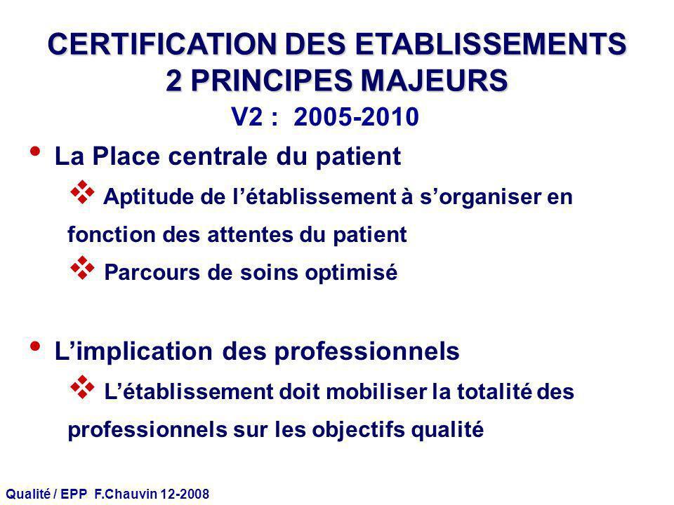 Qualité / EPP F.Chauvin 12-2008 CERTIFICATION DES ETABLISSEMENTS 2 PRINCIPES MAJEURS La Place centrale du patient Aptitude de létablissement à sorgani