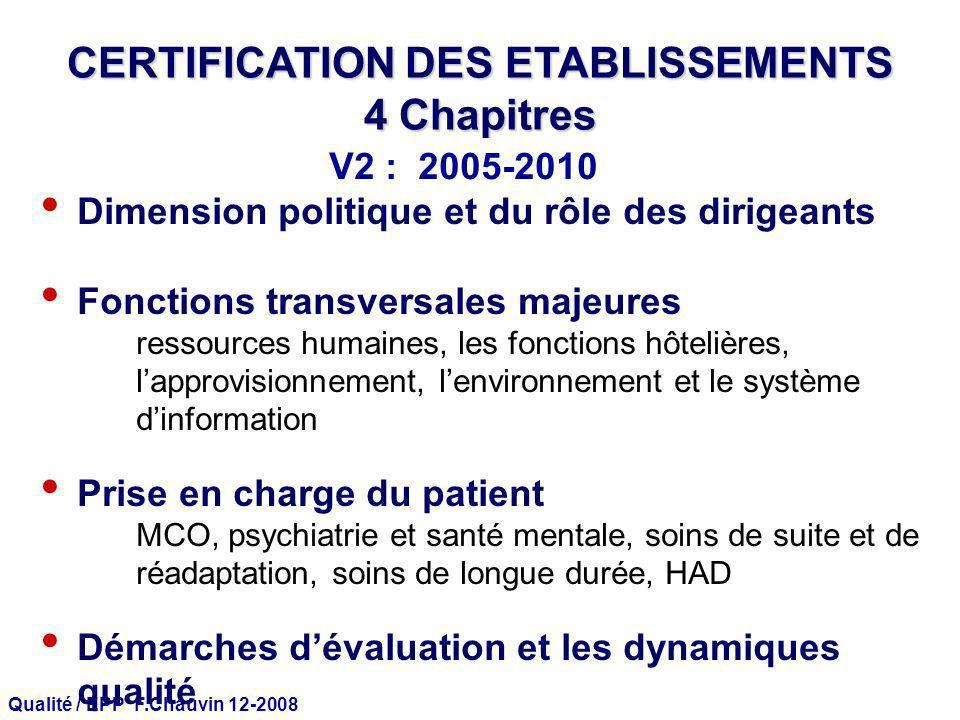Qualité / EPP F.Chauvin 12-2008 CERTIFICATION DES ETABLISSEMENTS 4 Chapitres Dimension politique et du rôle des dirigeants Fonctions transversales maj