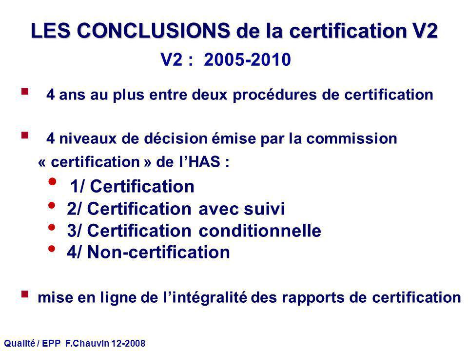 Qualité / EPP F.Chauvin 12-2008 LES CONCLUSIONS de la certification V2 4 ans au plus entre deux procédures de certification 4 niveaux de décision émis