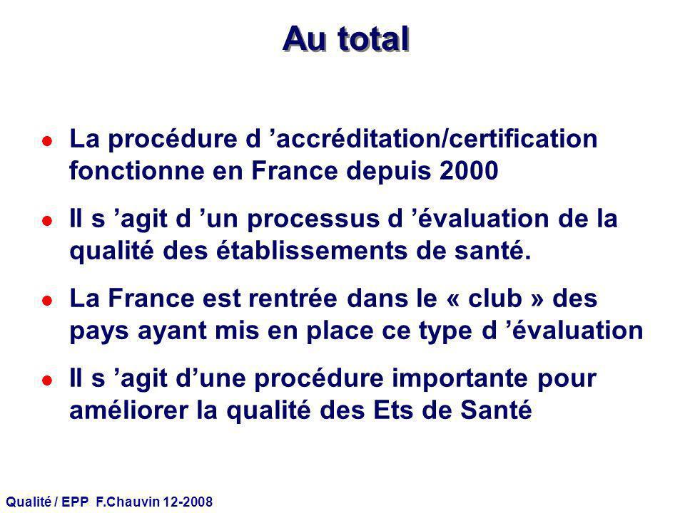 Qualité / EPP F.Chauvin 12-2008 Au total l La procédure d accréditation/certification fonctionne en France depuis 2000 l Il s agit d un processus d év