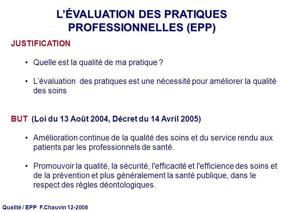 Qualité / EPP F.Chauvin 12-2008 LÉVALUATION DES PRATIQUES PROFESSIONNELLES (EPP) JUSTIFICATION Quelle est la qualité de ma pratique ? Lévaluation des