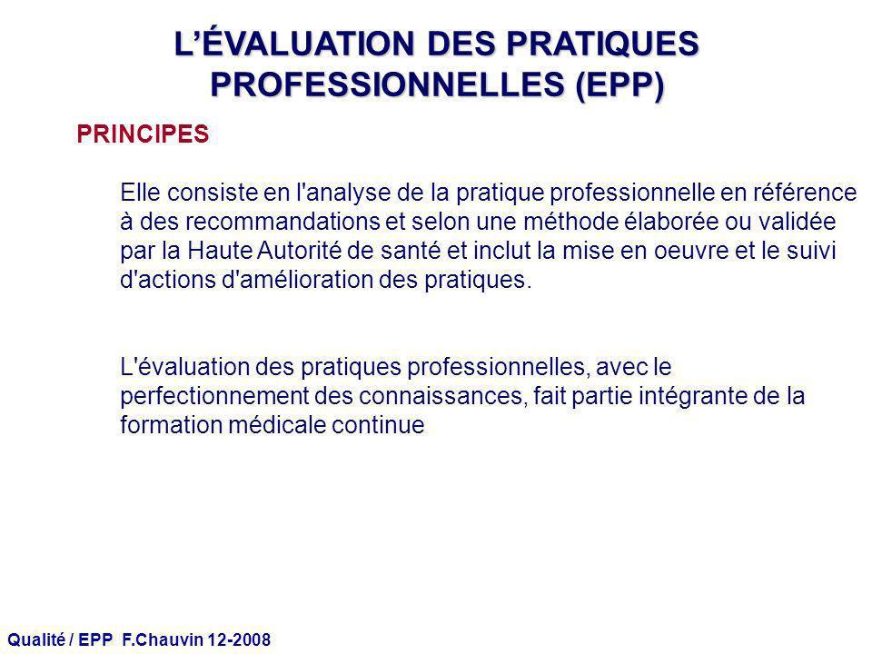 Qualité / EPP F.Chauvin 12-2008 LÉVALUATION DES PRATIQUES PROFESSIONNELLES (EPP) PRINCIPES Elle consiste en l'analyse de la pratique professionnelle e
