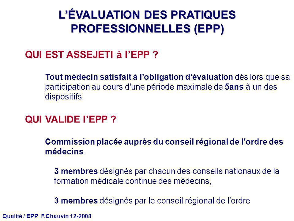 Qualité / EPP F.Chauvin 12-2008 QUI EST ASSEJETI à lEPP ? Tout médecin satisfait à l'obligation d'évaluation dès lors que sa participation au cours d'