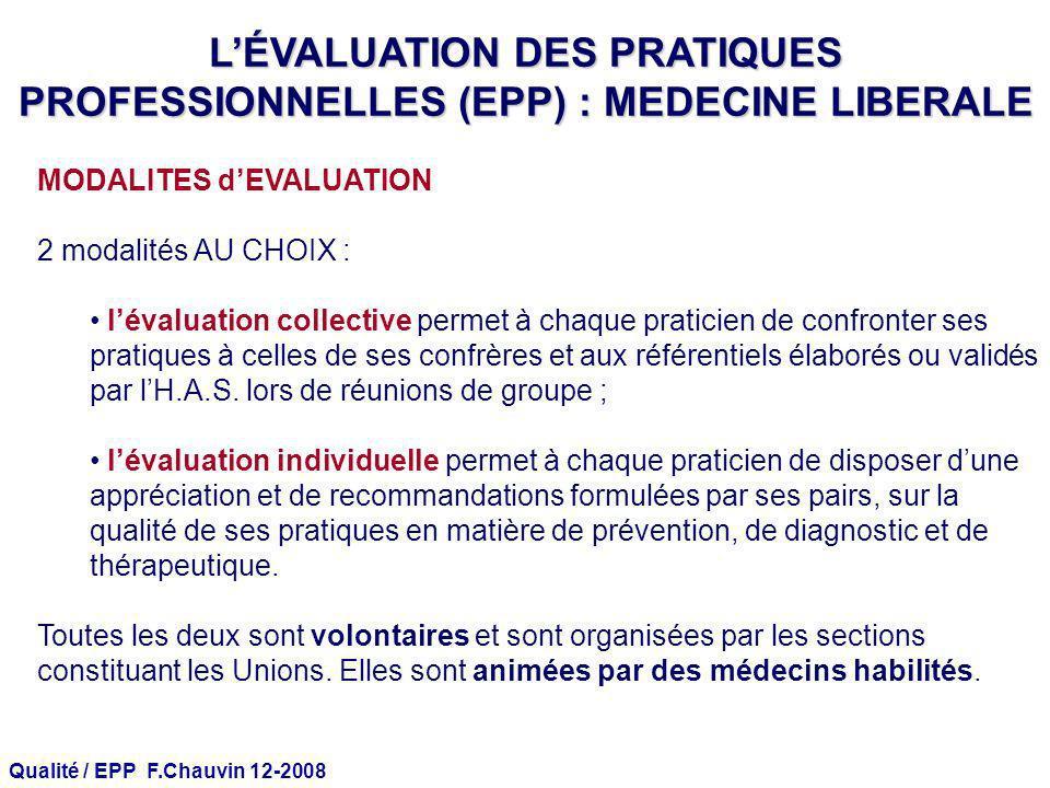 Qualité / EPP F.Chauvin 12-2008 MODALITES dEVALUATION 2 modalités AU CHOIX : lévaluation collective permet à chaque praticien de confronter ses pratiq