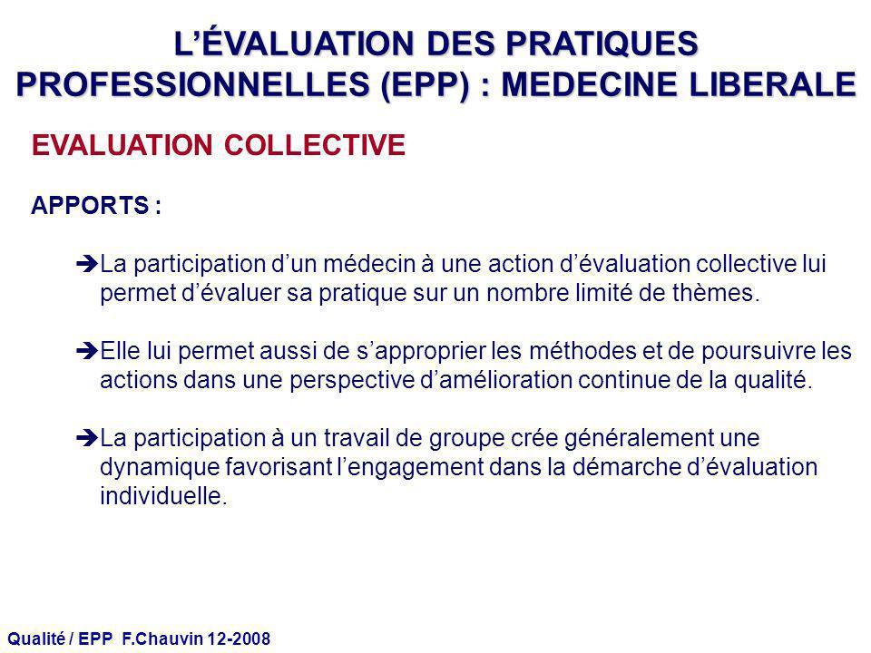 Qualité / EPP F.Chauvin 12-2008 EVALUATION COLLECTIVE APPORTS : La participation dun médecin à une action dévaluation collective lui permet dévaluer s