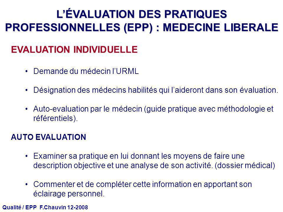 Qualité / EPP F.Chauvin 12-2008 EVALUATION INDIVIDUELLE Demande du médecin lURML Désignation des médecins habilités qui laideront dans son évaluation.