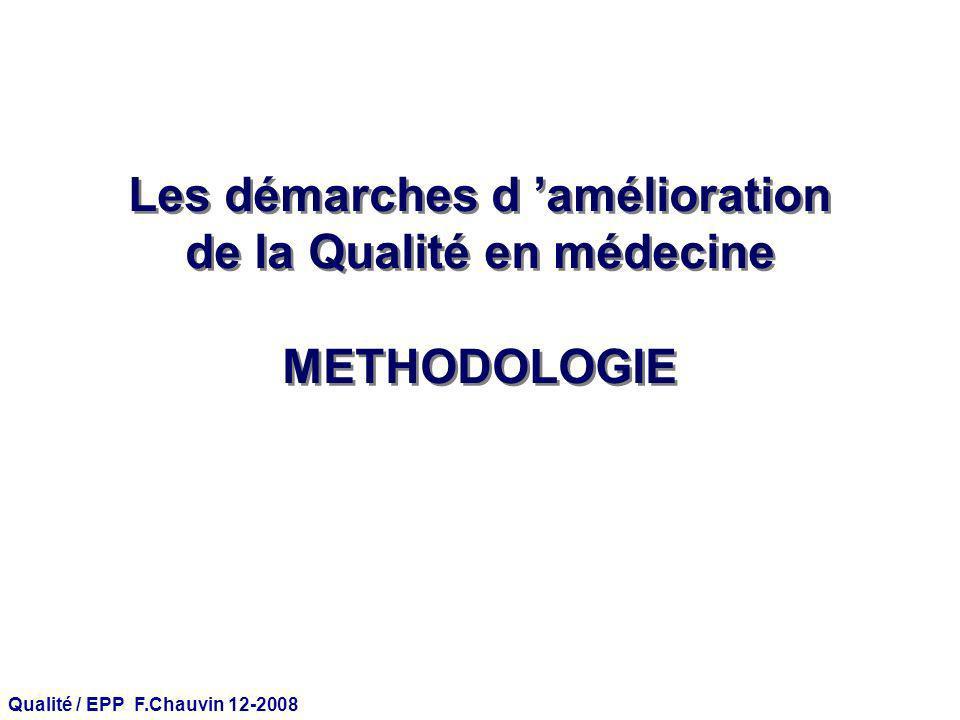 Qualité / EPP F.Chauvin 12-2008 Évaluation de la qualité des soins : 3 niveaux StructureProcessusRésultats Avons-nous les moyens de bien faire .