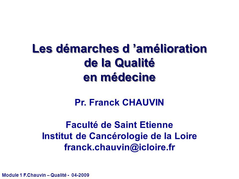 Module 1 F.Chauvin – Qualité - 04-2009 Évaluation des pratiques professionnelles Appréciation sur la qualité des pratiques de soins et Recommandations pour les améliorer.