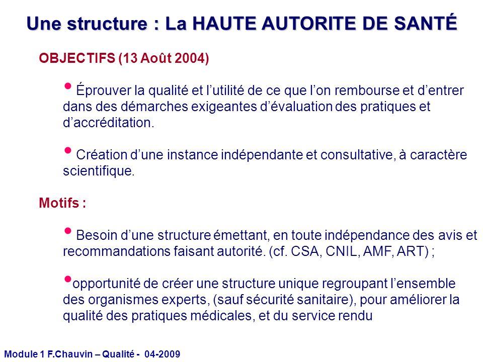 Module 1 F.Chauvin – Qualité - 04-2009 Une structure : La HAUTE AUTORITE DE SANTÉ OBJECTIFS (13 Août 2004) Éprouver la qualité et lutilité de ce que l