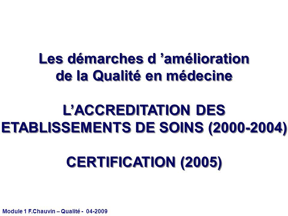 Module 1 F.Chauvin – Qualité - 04-2009 Les démarches d amélioration de la Qualité en médecine LACCREDITATION DES ETABLISSEMENTS DE SOINS (2000-2004) C