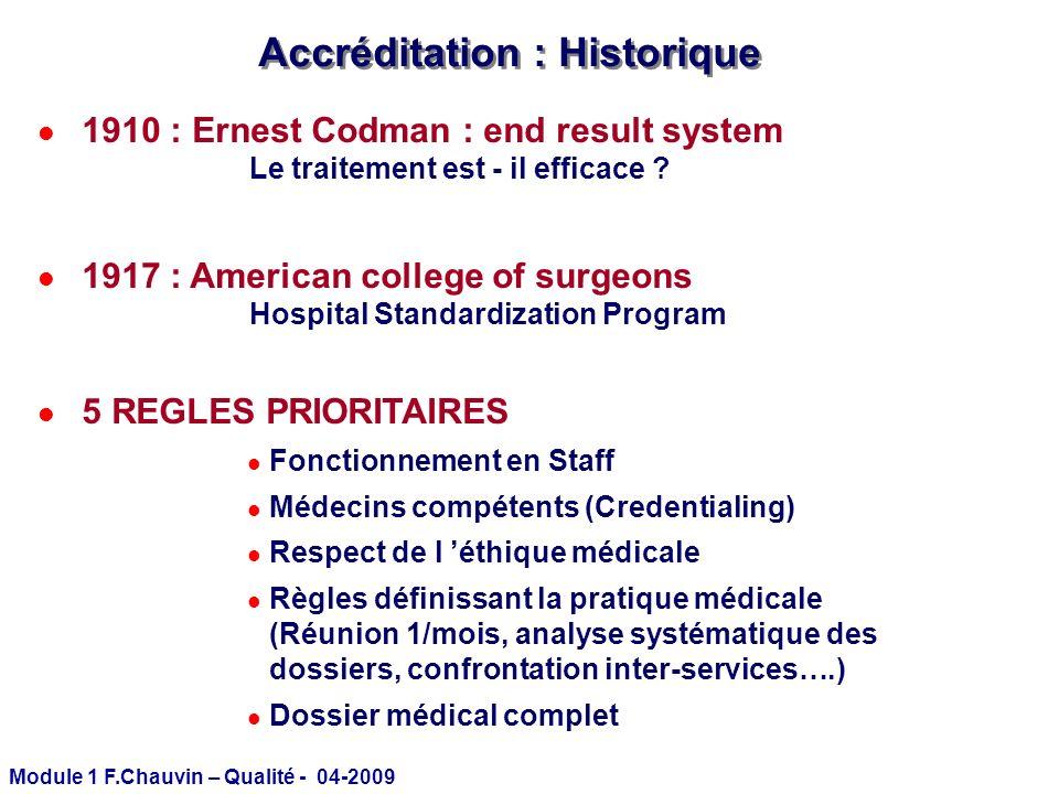 Module 1 F.Chauvin – Qualité - 04-2009 Accréditation : Historique l 1910 : Ernest Codman : end result system Le traitement est - il efficace ? l 1917