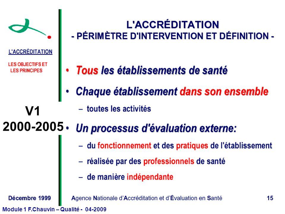 Module 1 F.Chauvin – Qualité - 04-2009 V1 2000-2005