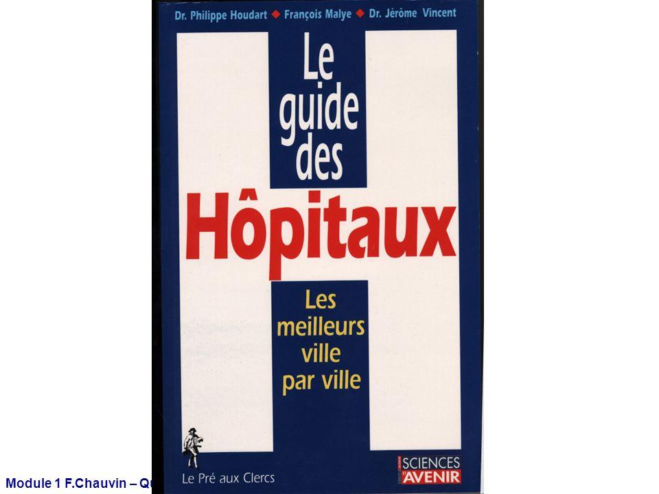 Module 1 F.Chauvin – Qualité - 04-2009 Au total l La procédure d accréditation/certification fonctionne en France depuis 2000 l Il s agit d un processus d évaluation de la qualité des établissements de santé.