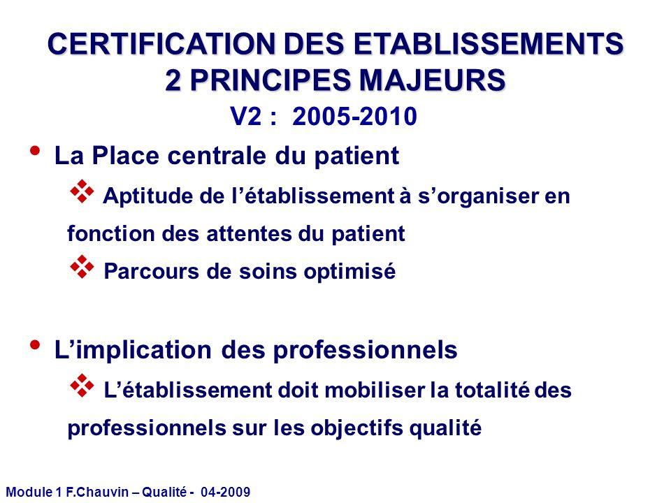 Module 1 F.Chauvin – Qualité - 04-2009 CERTIFICATION DES ETABLISSEMENTS 2 PRINCIPES MAJEURS La Place centrale du patient Aptitude de létablissement à